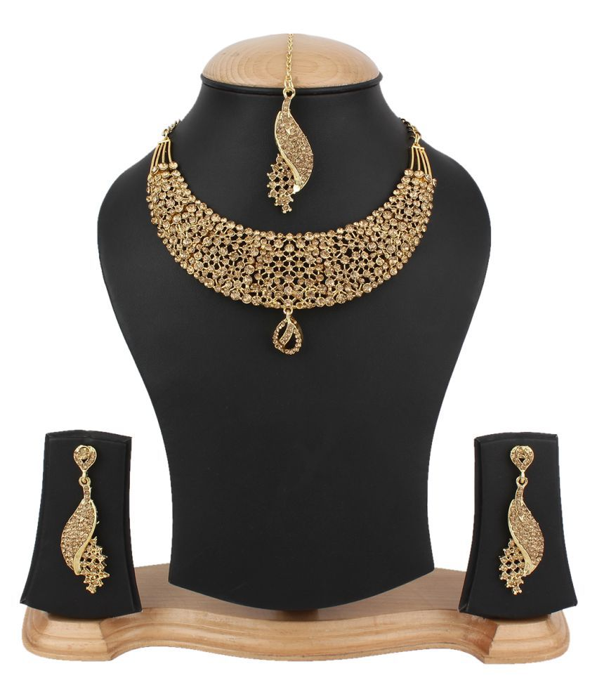 Jewels Gold Golden Alloy Necklace Set With Mangtika