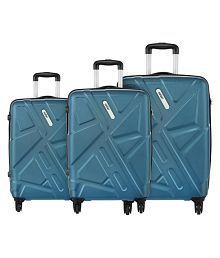 Safari Traffik Anti Scratch Combo Set of 3 Teal Small, Medium & Large Hard Branded Luggage Trolley Bag