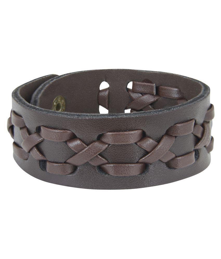 Shining Jewel Hand Woven Brown Leather Bracelet for Men