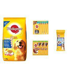Pedigree Full Meal Combo Of Adult Dog Food Chicken-Veg 10 Kg+Adult Gravy Pouch 5Pcs+Meat Jerky 3 Units-80 Gms+Medium Dentastix 2 Stix