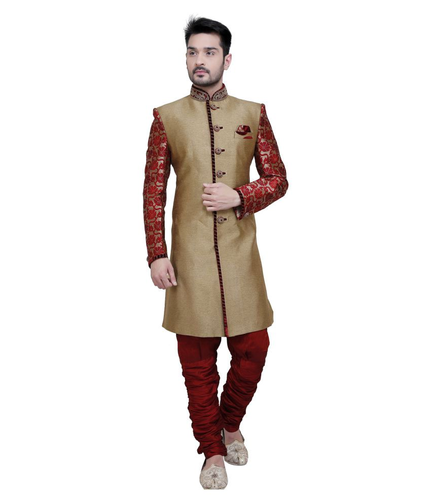 Nu Abc Garments Gold Silk Sherwani