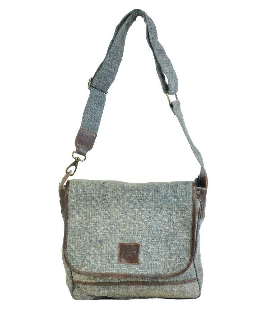 Canvas & Awl Grey Jute Casual Messenger Bag