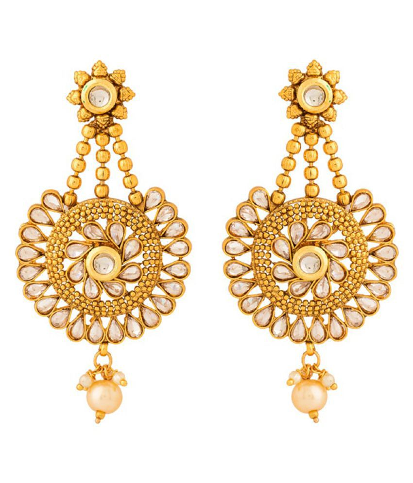 Navrang Golden Hanging Earrings For Women