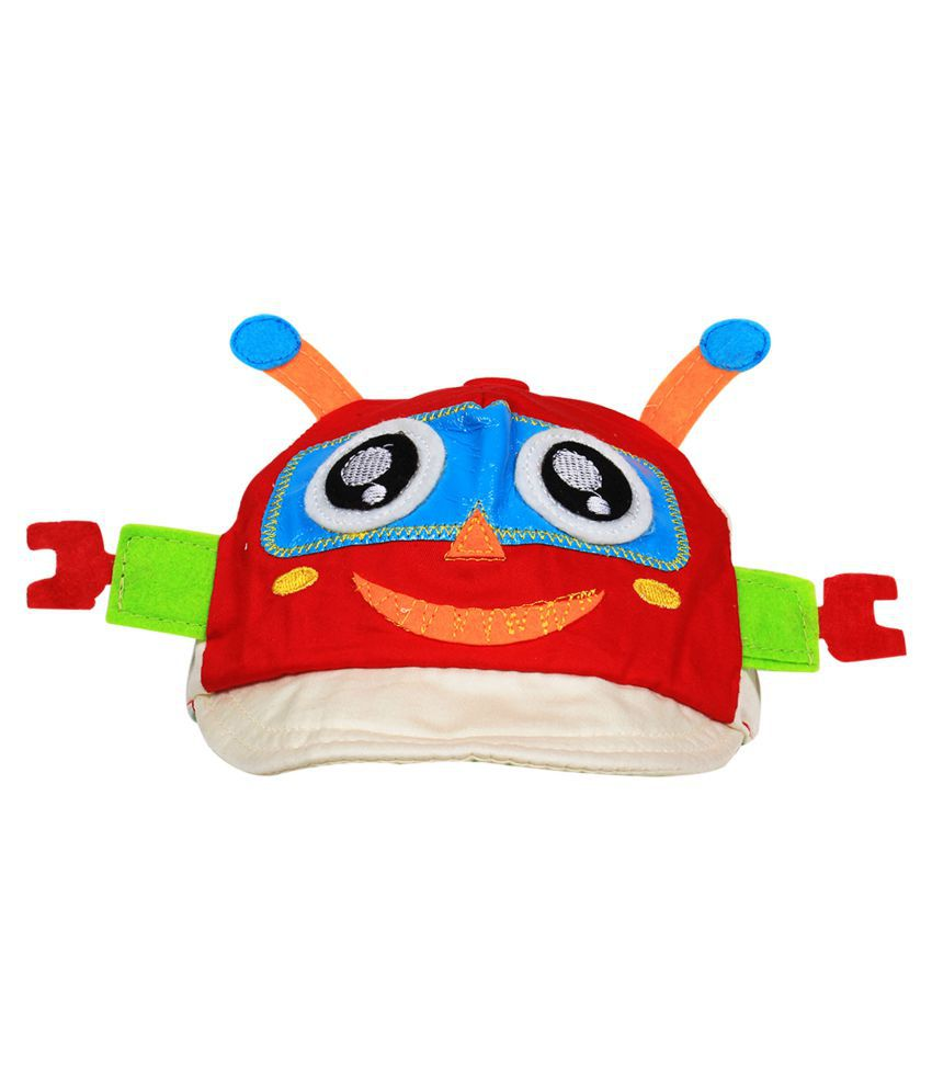 Ole Baby Baseball Cap With Ears And Embroided With Funny Cartoon Face Including Leather Strip