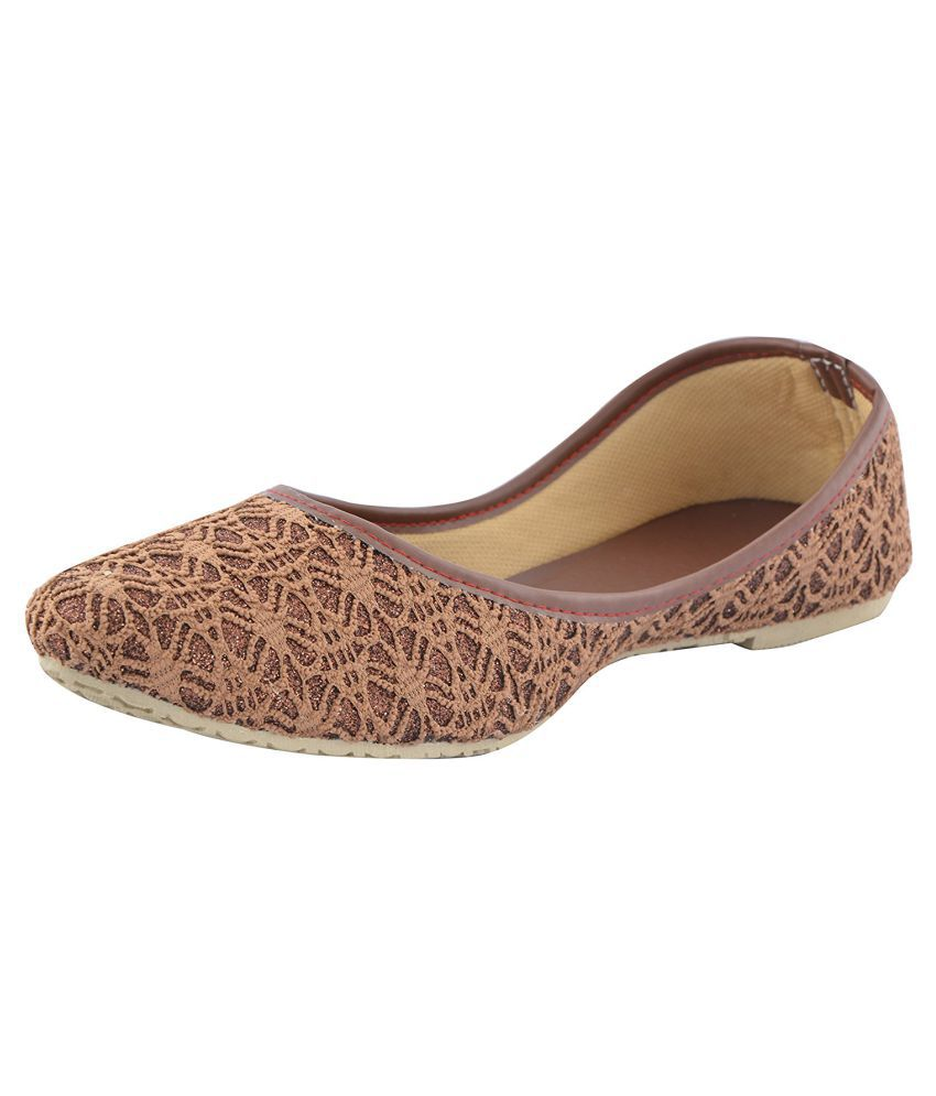 Top Choice Brown Flat Ethnic Footwear