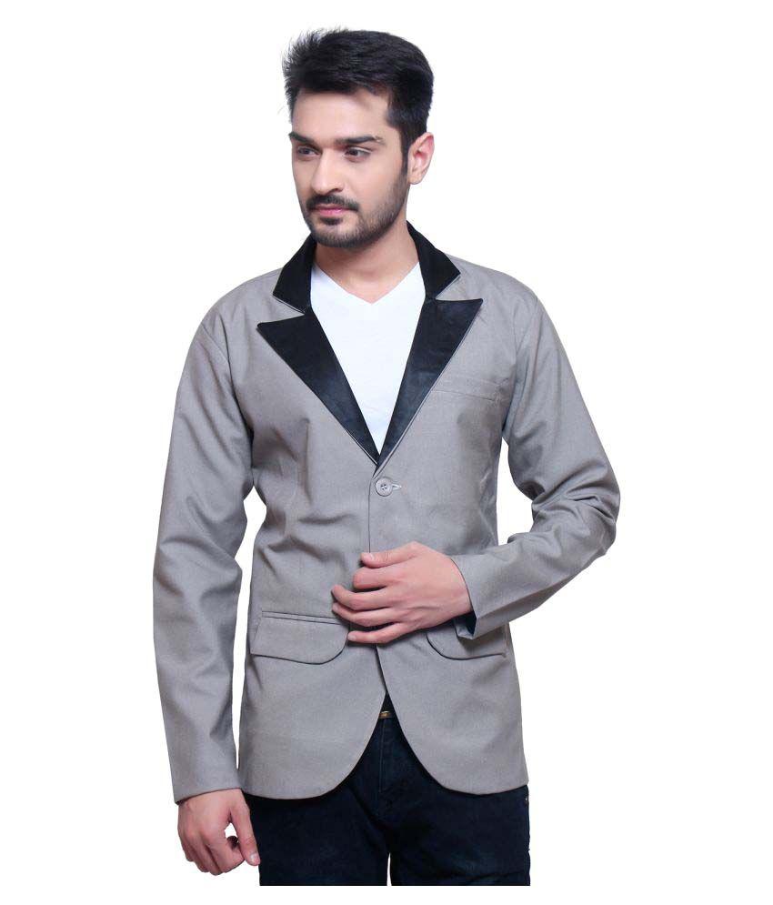 Nu Abc Garments Grey Solid Casual Blazers