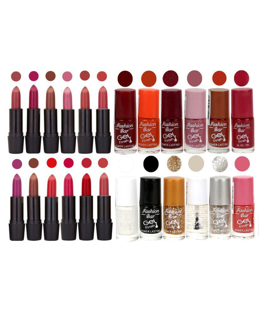 Fashion Bar Nail Polish and Lipstick Exclusive Combo Offer Matte 6 ml