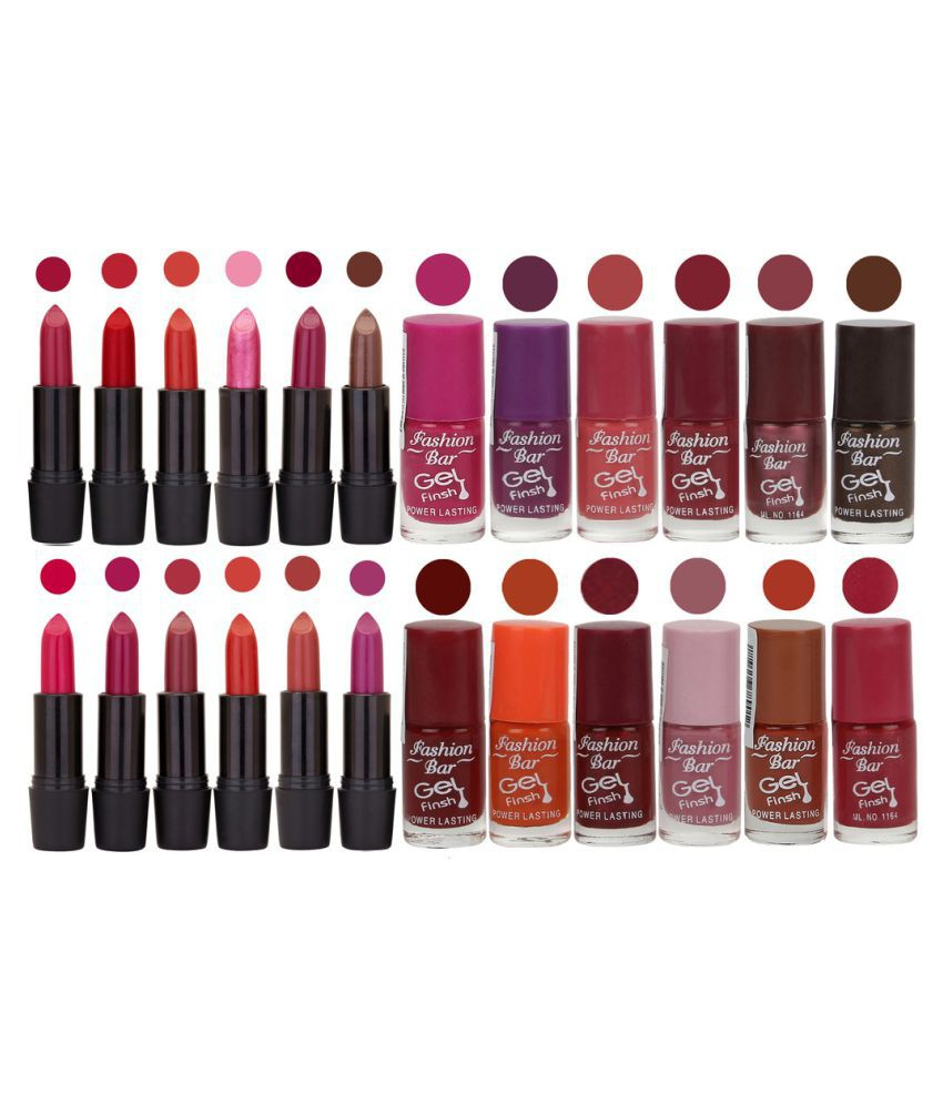 Fashion Bar Nail Polish and Lipstick Exclusive Combo Offer Matte 6 ml