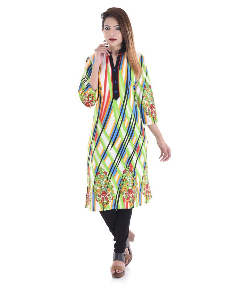 V.O Couture Multicoloured Cotton Straight Kurti