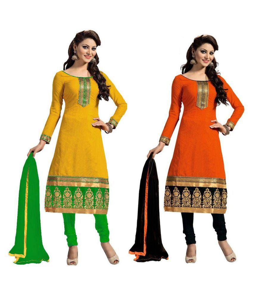 Vr Fashion Multicoloured Cotton A-line Stitched Suit