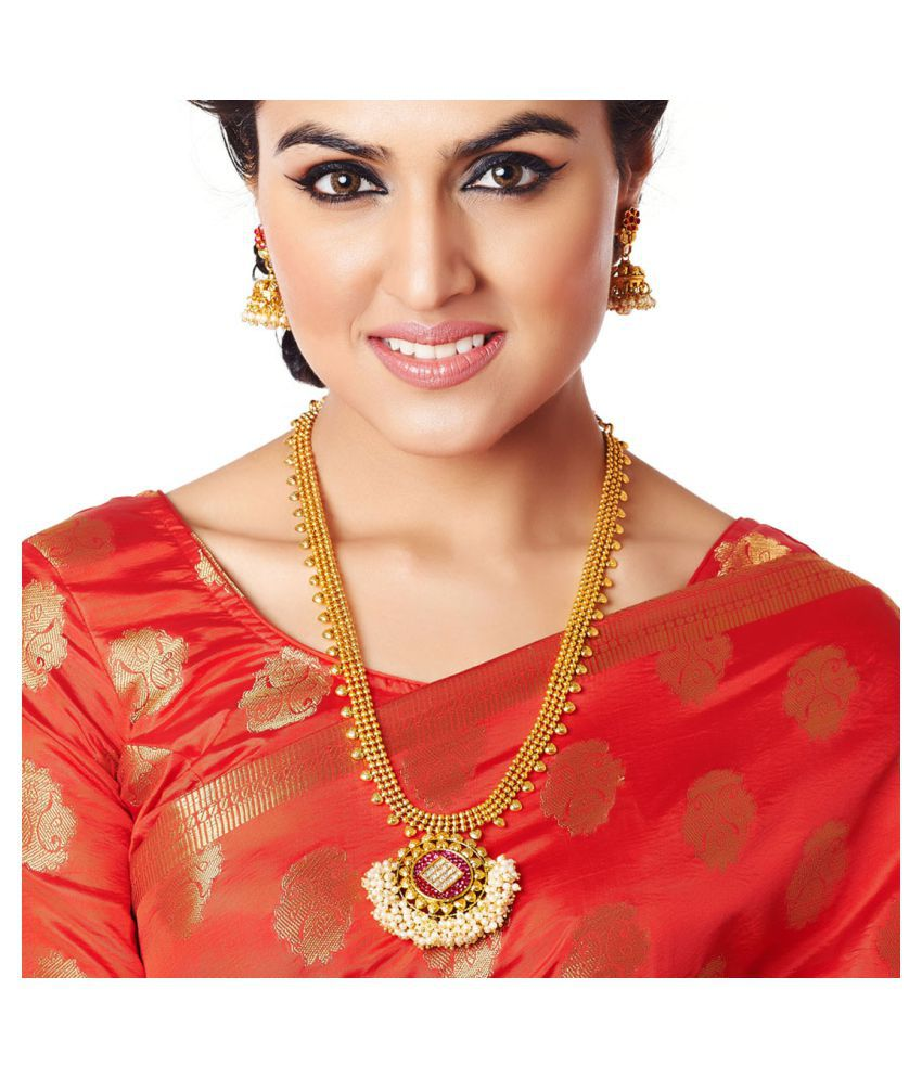 RG Fashions Golden Brass Designer Necklace with Pearl Beadings