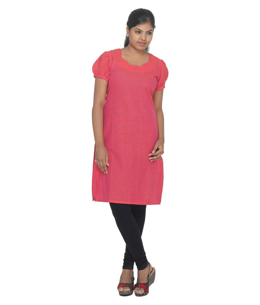 Zubhaa Fashion Peach Cotton Straight Kurti