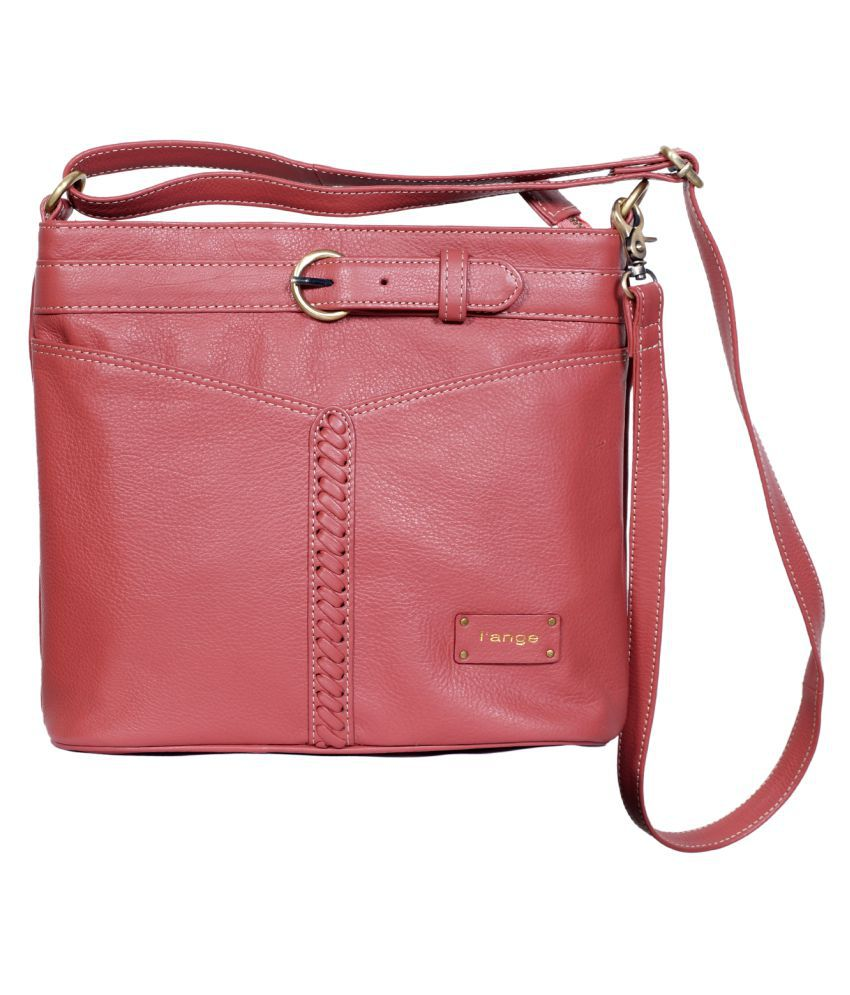 L'ange Pink Pure Leather Sling Bag