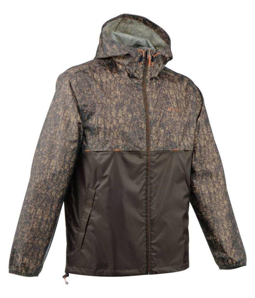 Quechua Brown Rain Cut Hiking Waterproof Jacket