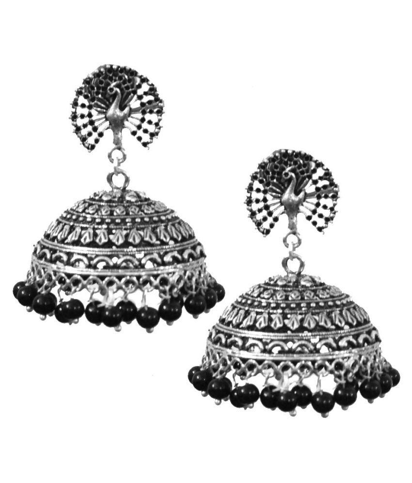 Kaizer Jewelry Stunning Textured Peacock Stud Oxidised Black Jhumki for Women
