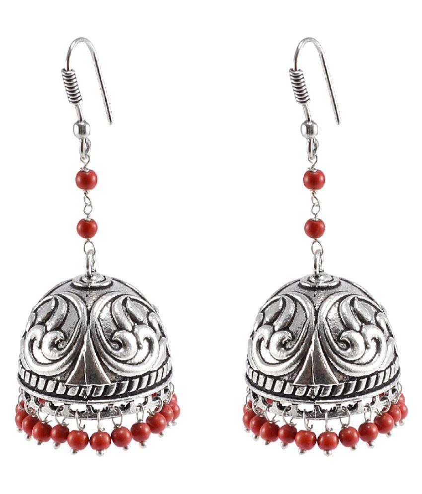 Silvesot India Silver Alloy Jhumki Earrings