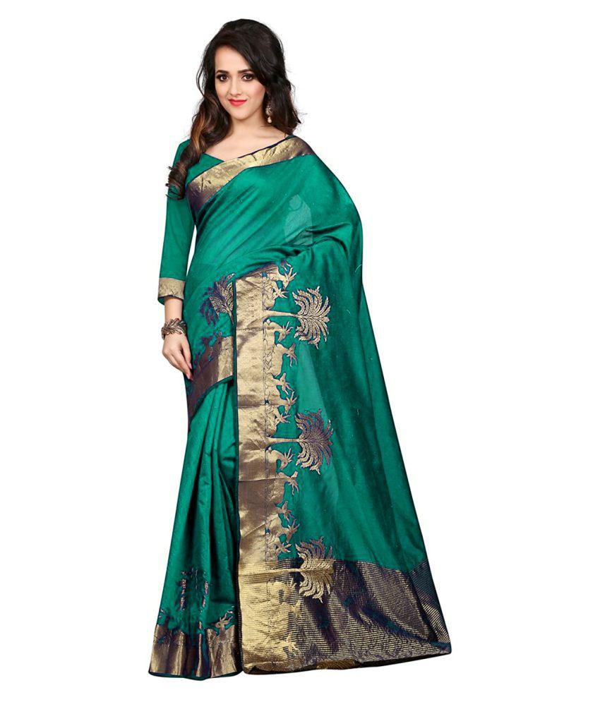 The Lugai Fashion Green Cotton Saree