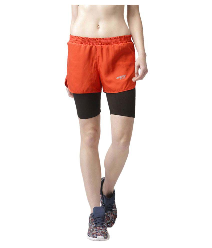 2Go Orange Inbuilt Tights Running Shorts