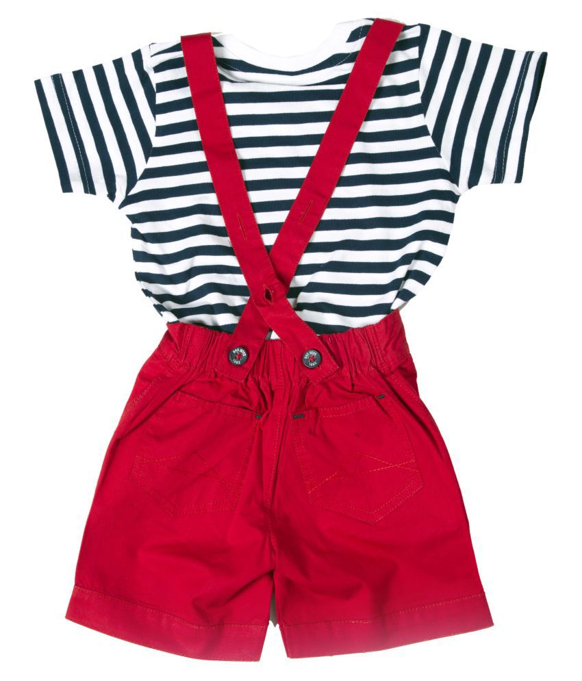 7009a754526 Bad Boys Striper T-Shirt   Dungaree Set - Buy Bad Boys Striper T-Shirt    Dungaree Set Online at Low Price - Snapdeal
