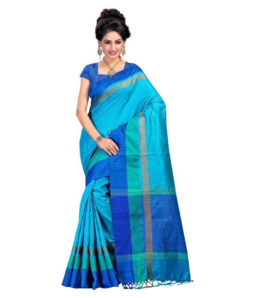 Fabattic blue tussar silk saree buy fabattic blue tussar - Cucine on line low cost ...