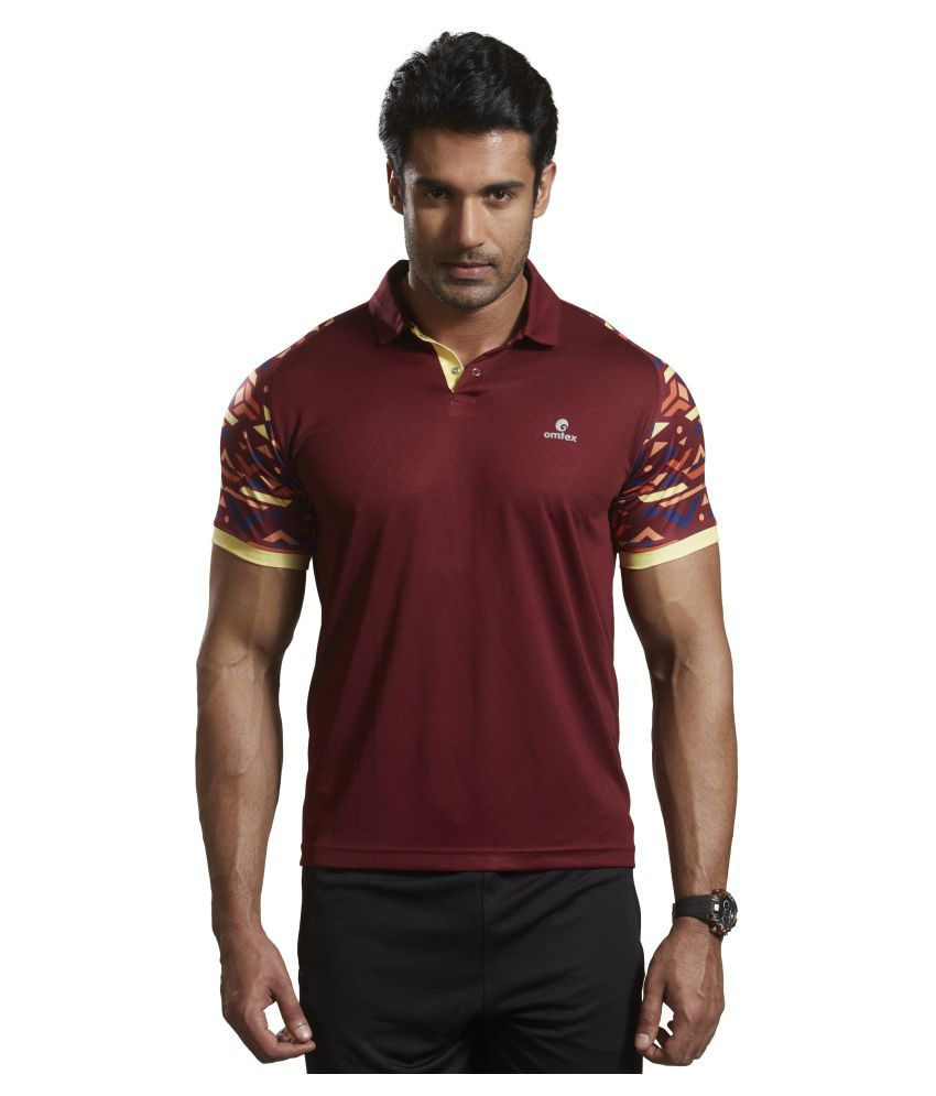 Omtex Maroon Polyester Active Wear Polo T-Shirt