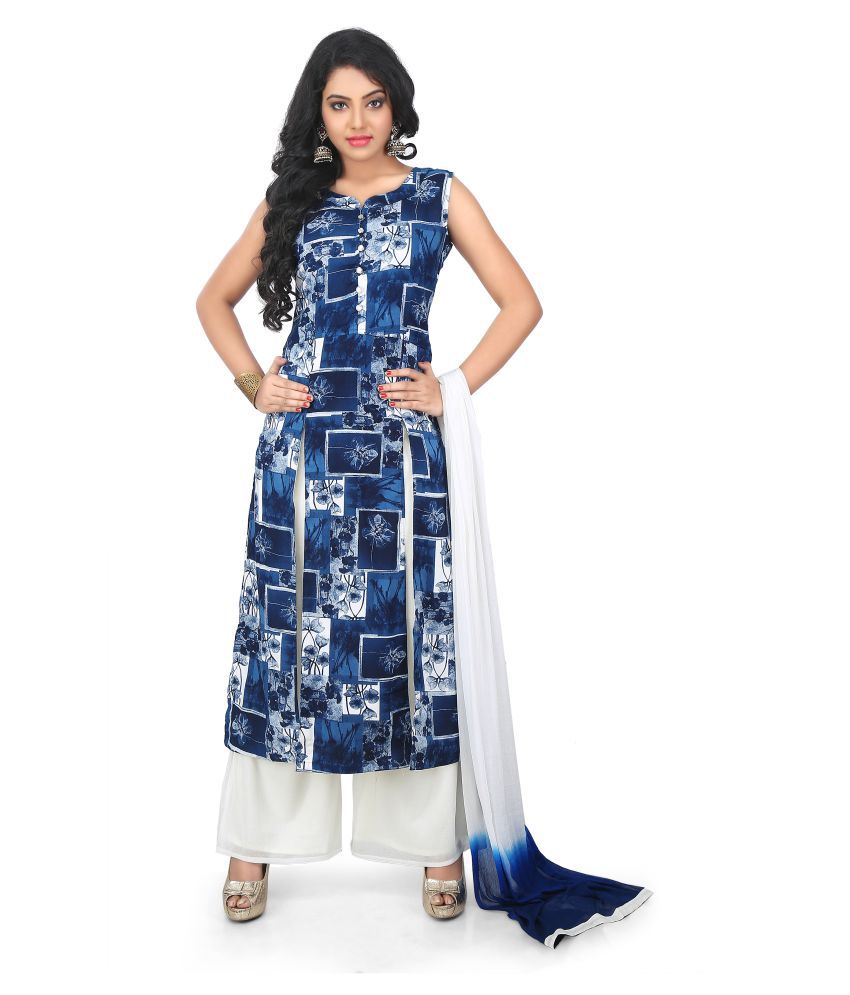 MantaKart Multicoloured Rayon Straight Stitched Suit