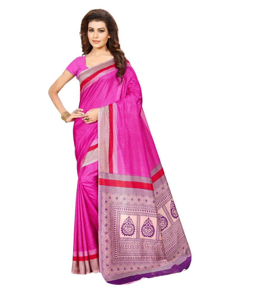 Urban Vastra Pink Raw Silk Saree