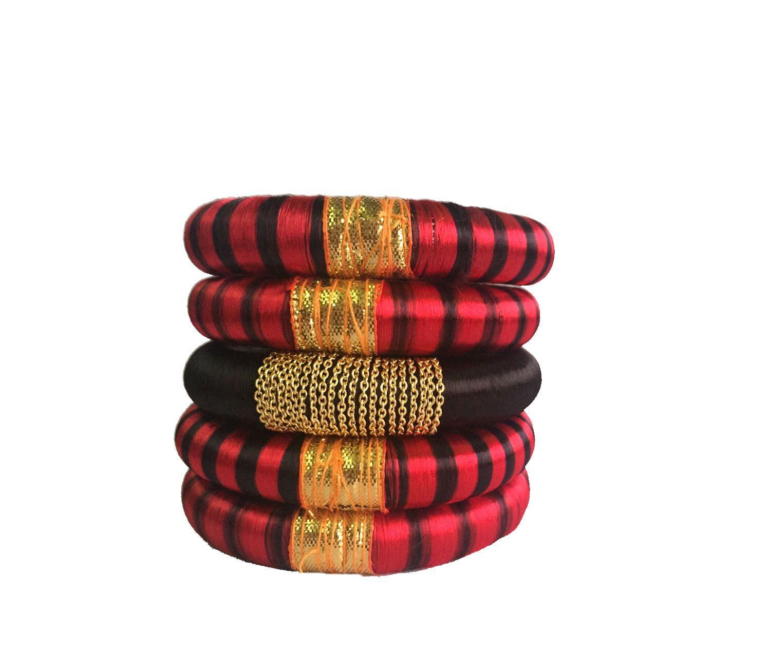 Thirsty Guys Multi Color Silk Thread Plastic Kada Set For Women