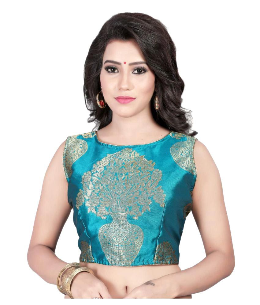 Womens Ethnic Turquoise Round Shape Back Blouse