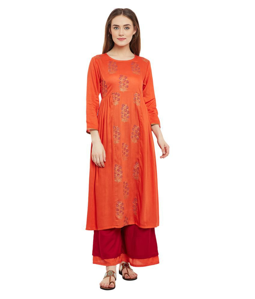 9rasa Rust Viscose A-line Stitched Suit