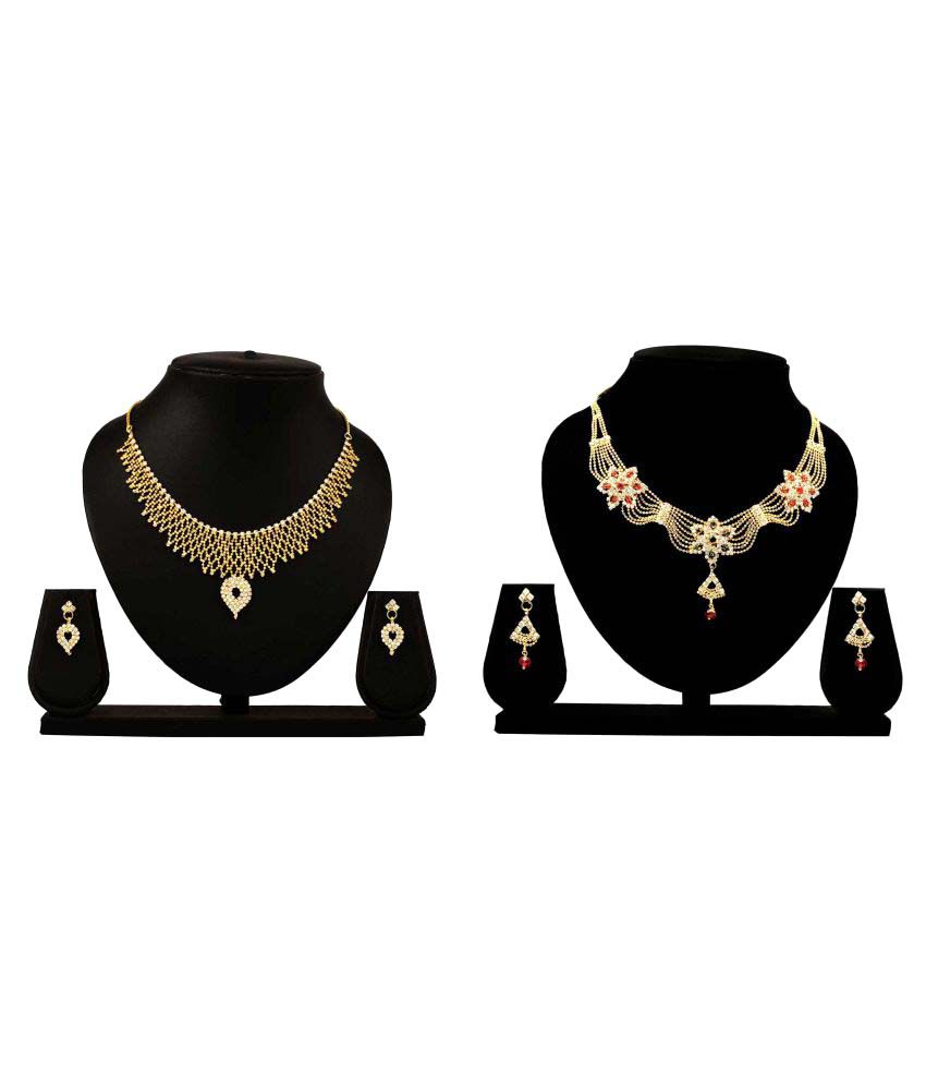Dealseven Fashion Golden Alloy Necklace Set Combo