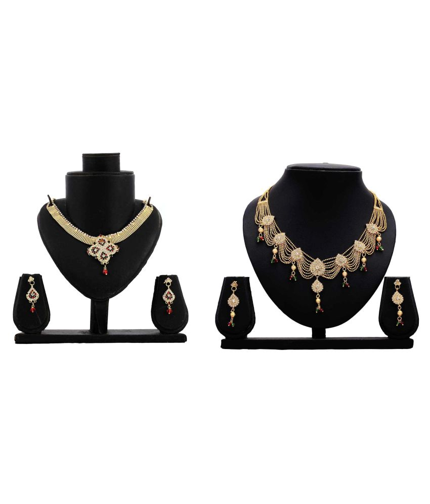 Dealseven Fashion Golden Alloy Necklace Set Combo For Women