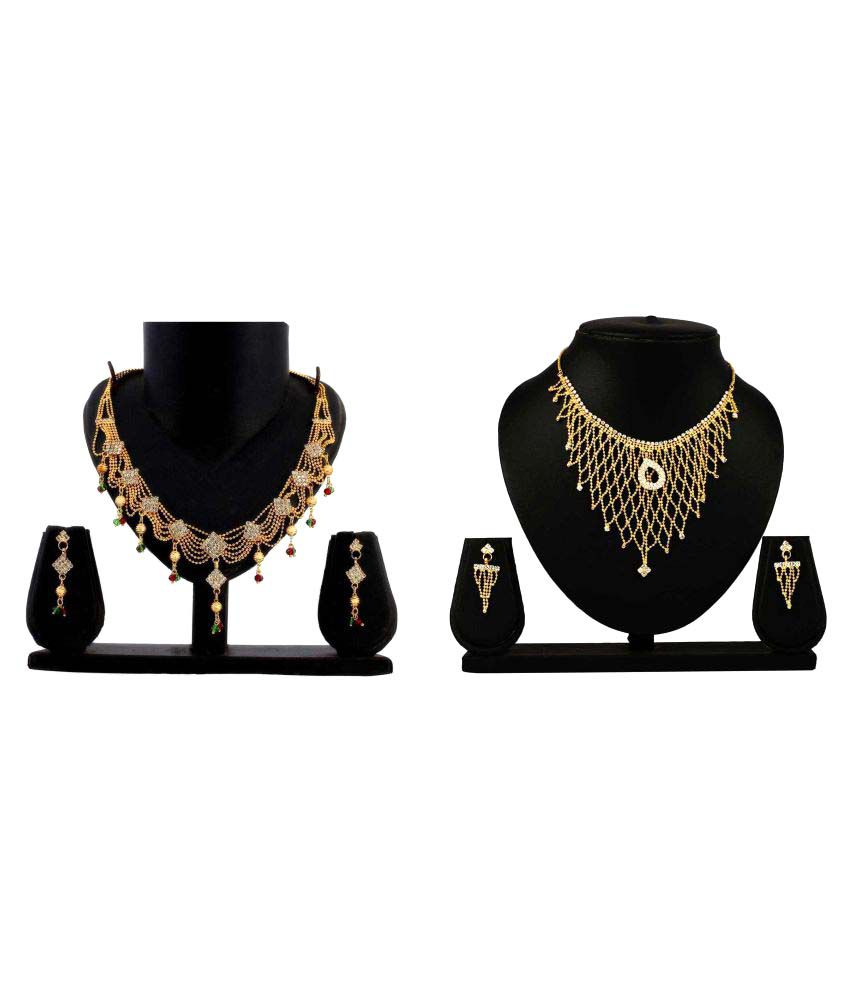 Dealseven Fashion Multicolour Alloy Necklace Set Combo