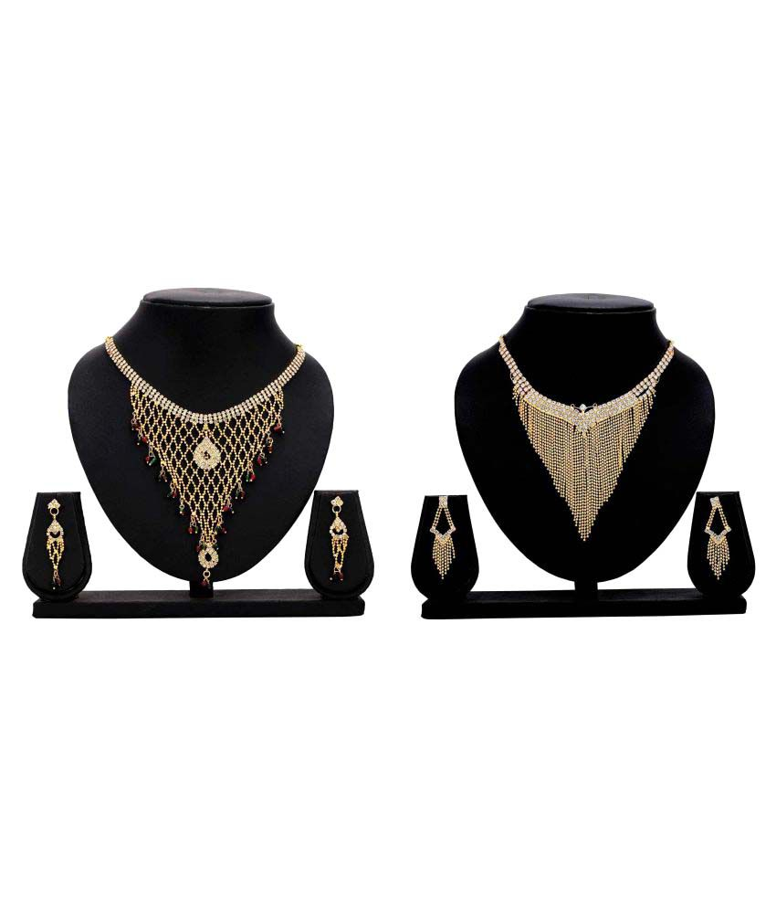 Dealseven Fashion Presents Golden Alloy Necklace Set Combo
