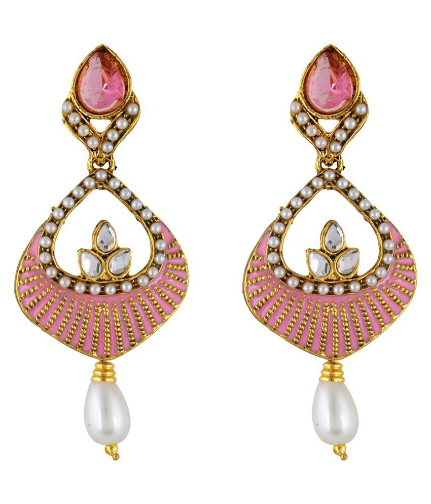 Fasherati Pink Enameled Hanging Earrings For Women