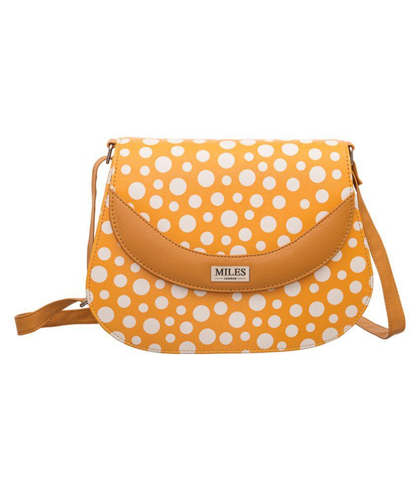 Miles London Orange Non Leather Sling Bag