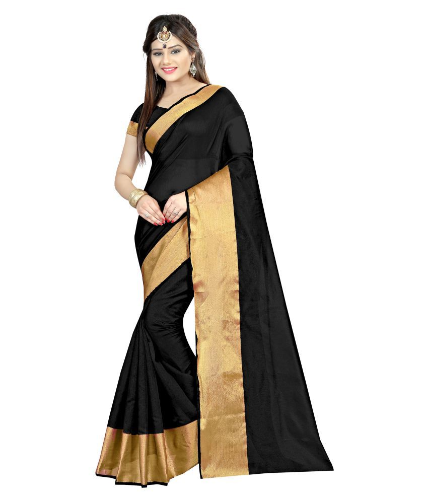 Zpluesx Black Cotton Silk Saree