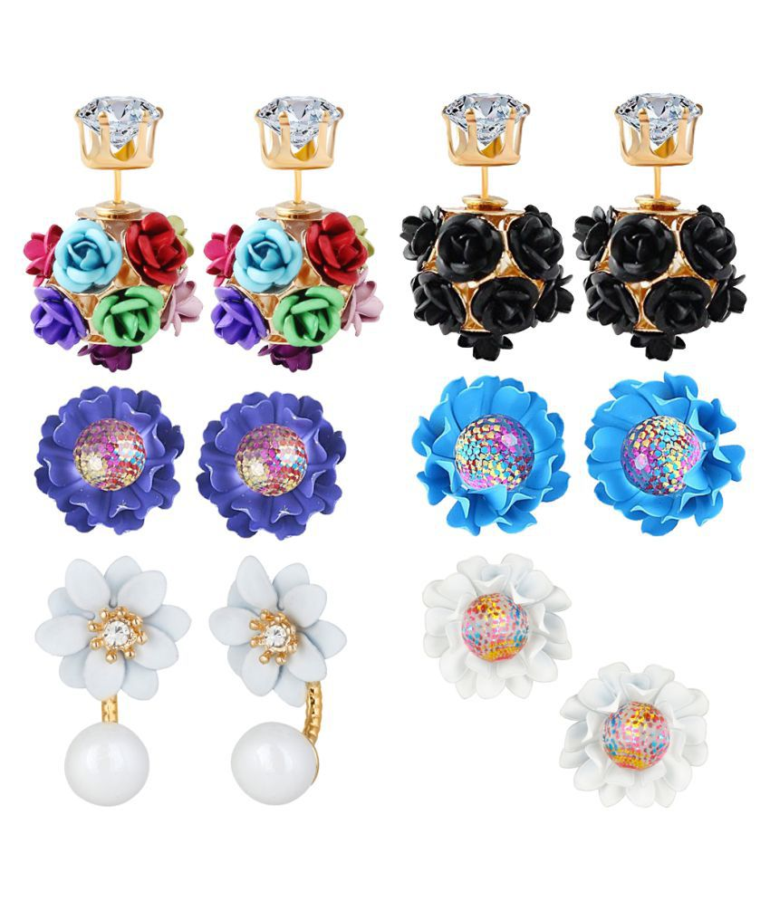 Jewels Galaxy Multicolor Earrings - Pack of 6