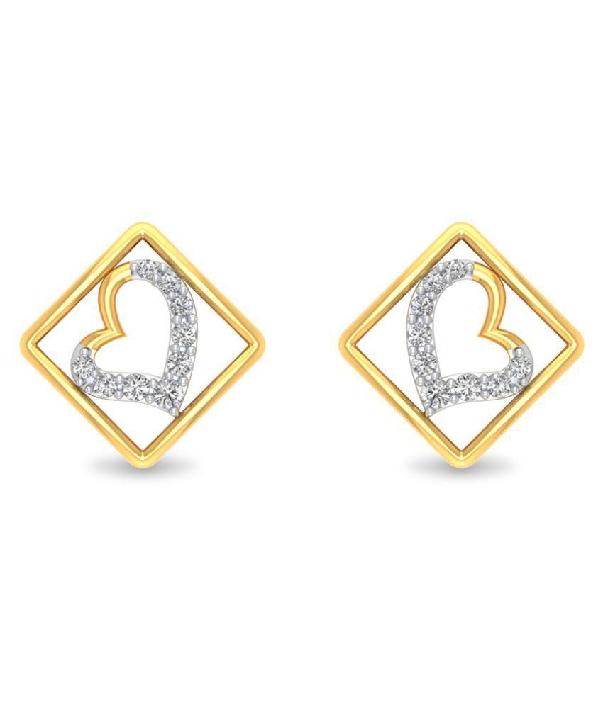 P.N.Gadgil Jewellers 18k BIS Hallmarked Yellow Gold Diamond Studs