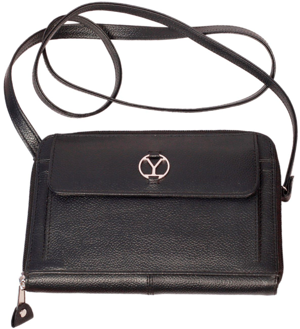 Ystore Black Pure Leather Sling Bag - Buy Ystore Black Pure ...