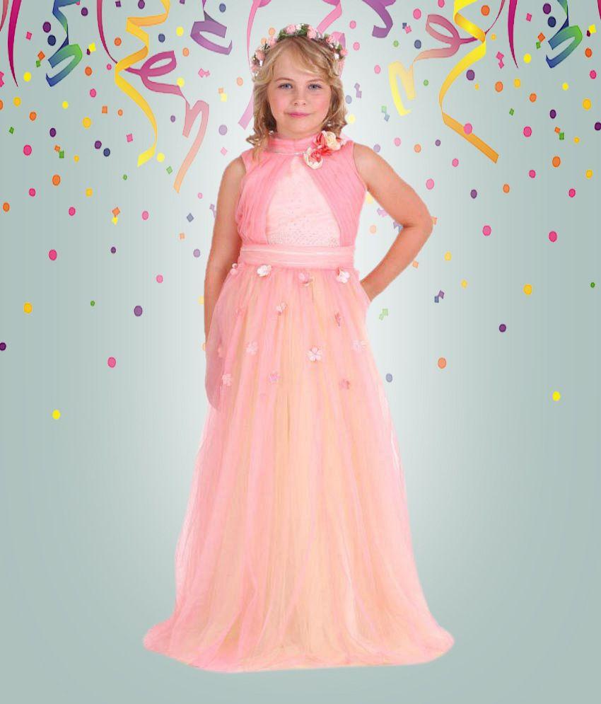 Cutecumber Girls Partywear Peach Ball Gown - Buy Cutecumber Girls ...