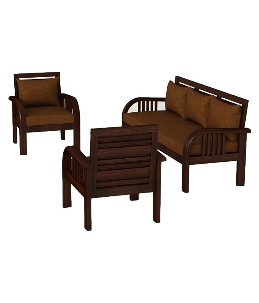 Stark Solid Teak Wood 5 Seater Sofa Set in Mahogany Finish Buy