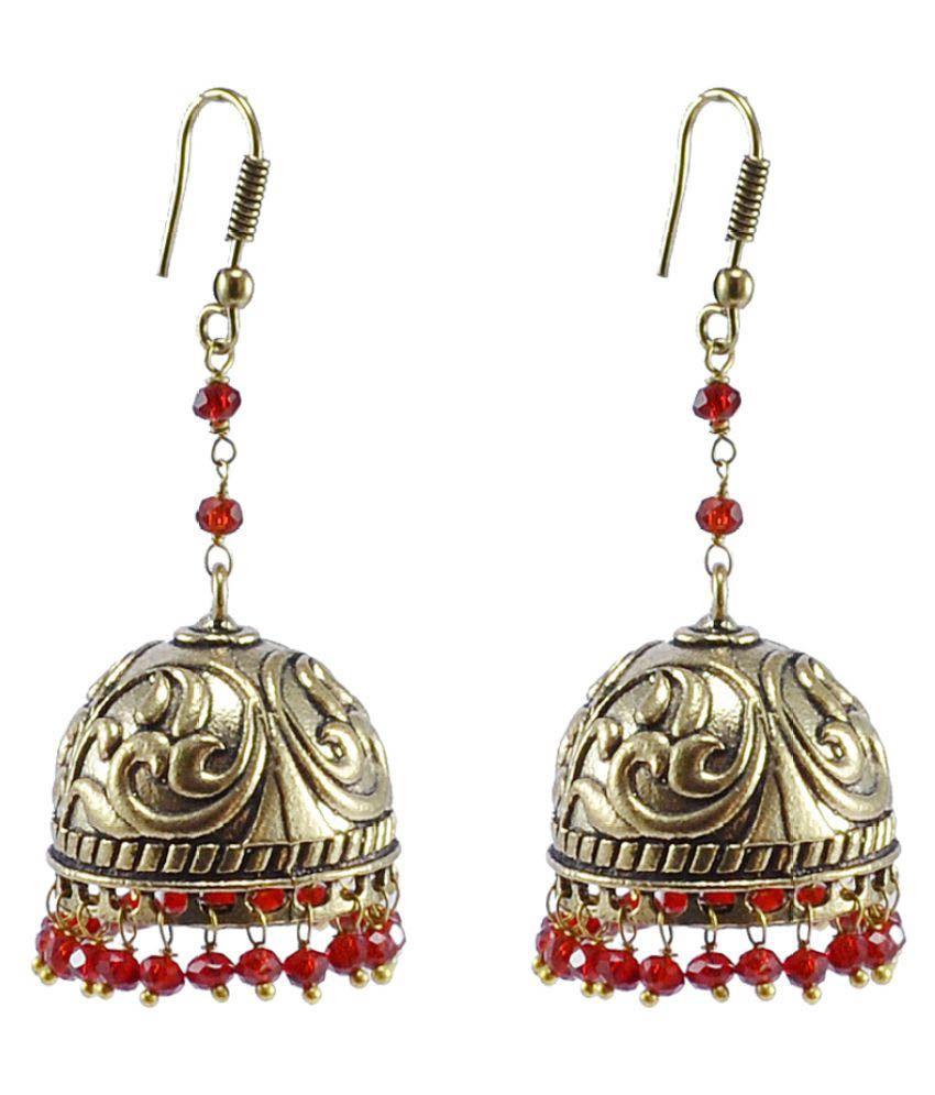 Silvesto India Ethnic Jewelry Alloy Oxidized Jhumki Earrings PG-102238