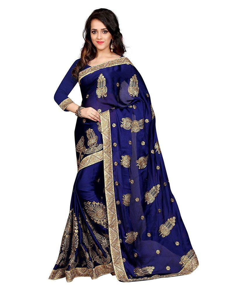 Panash Trends Blue and Beige Satin Saree
