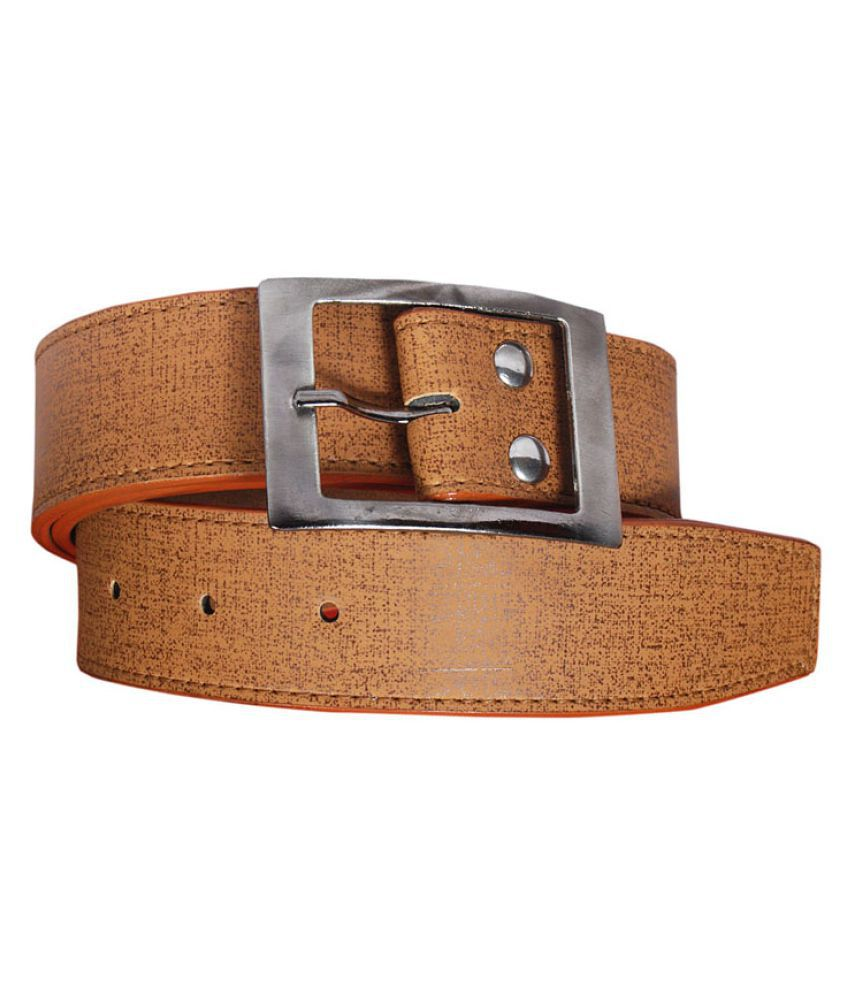 Visach Tan Faux Leather Casual Belts