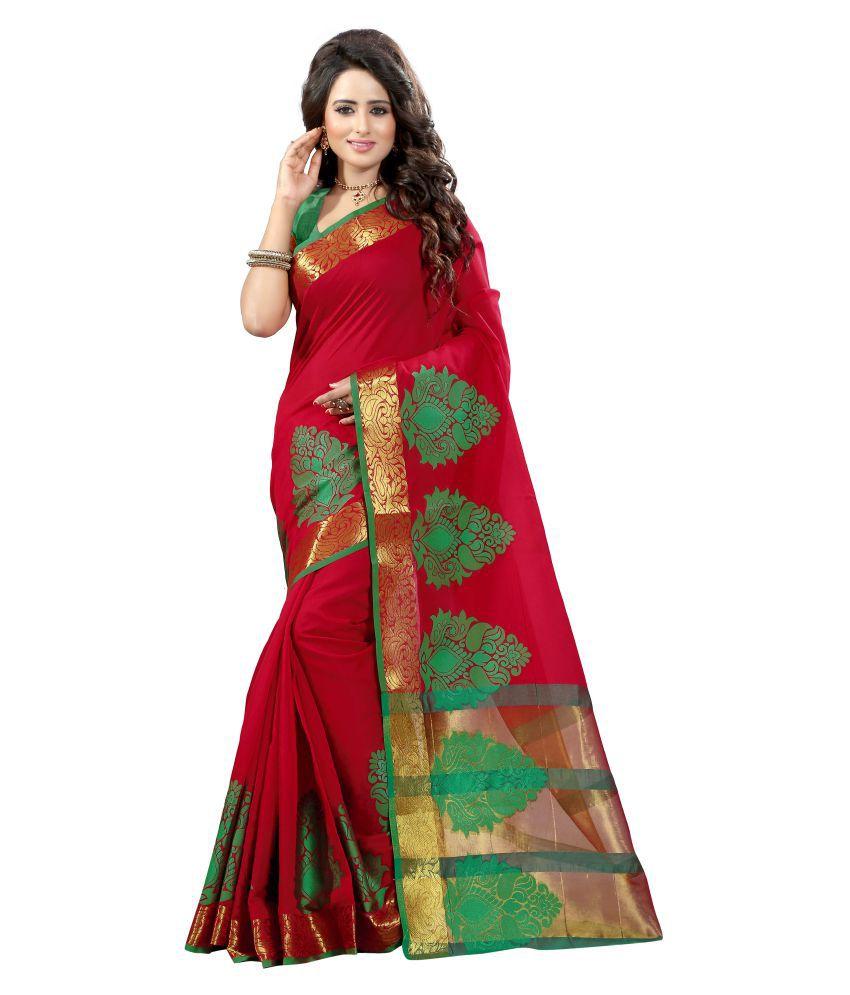 Dealsure Red Banarasi Silk Saree