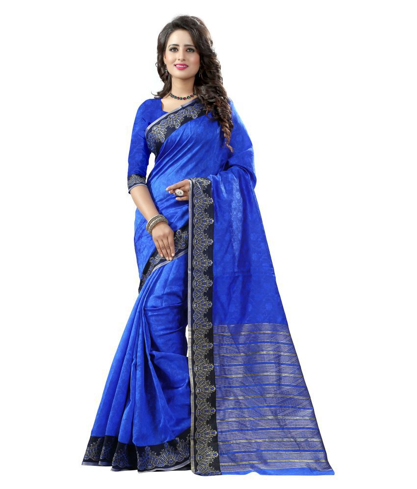 Dealsure Blue Banarasi Silk Saree
