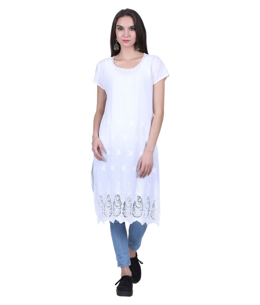 Juniper White Cotton Straight Kurti