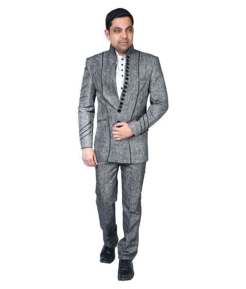 Bindals Grey Printed Party Suit