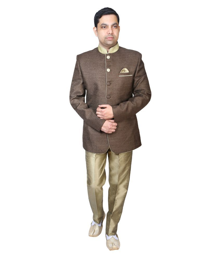 Bindals Brown Solid Party 2 Piece Suits